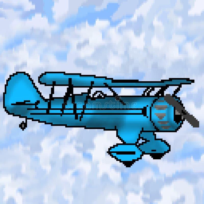 Ljust för bit för PIXEL 8 utdraget - blå antik nivå med mångfärgad molnig himmel royaltyfri illustrationer