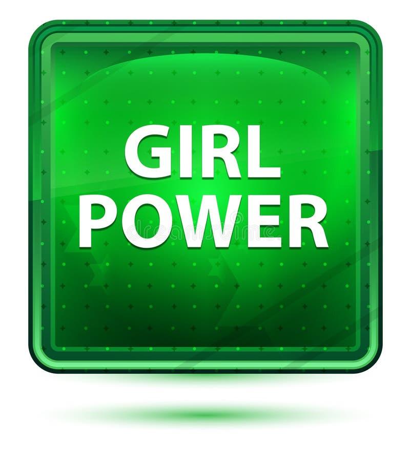 Ljust för flickamaktneon - grön fyrkantknapp vektor illustrationer