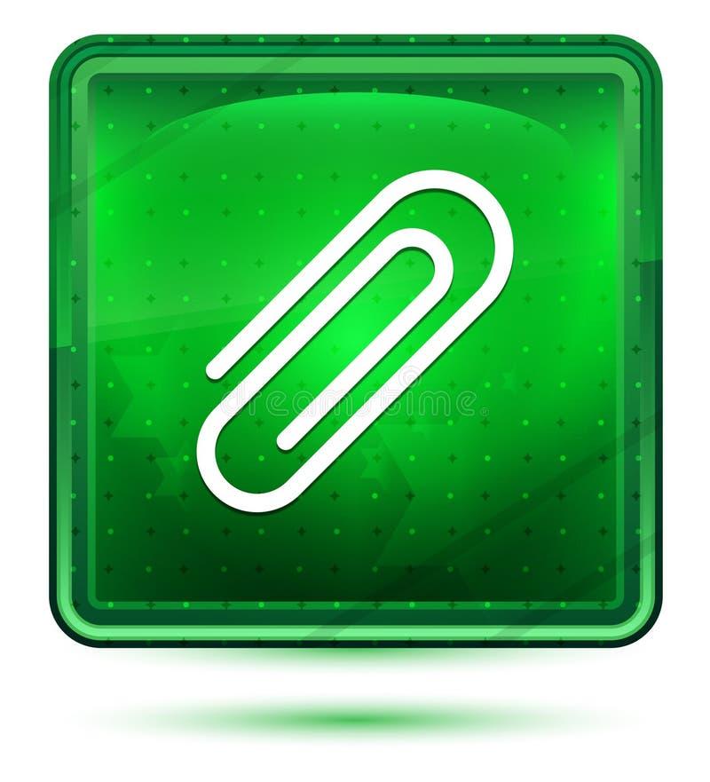 Ljust för gemsymbolsneon - grön fyrkantig knapp stock illustrationer