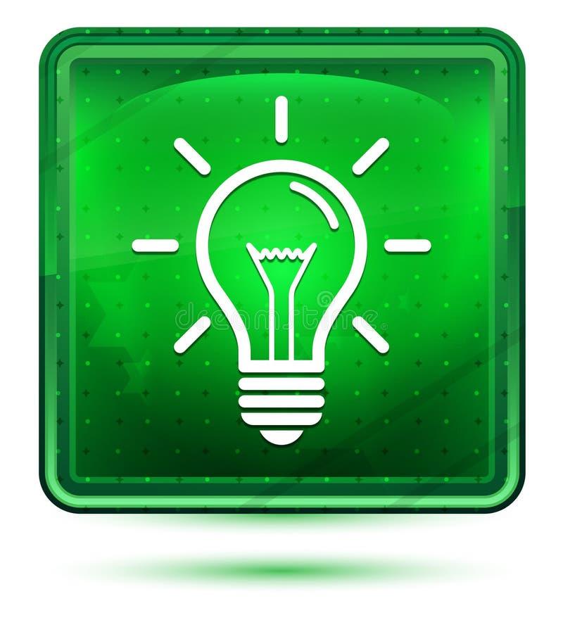 Ljust för Lightbulbsymbolsneon - grön fyrkantig knapp royaltyfri illustrationer