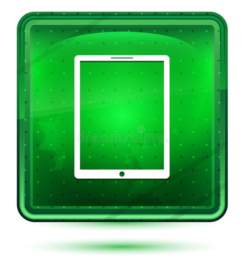 Ljust för minnestavlasymbolsneon - grön fyrkantig knapp vektor illustrationer