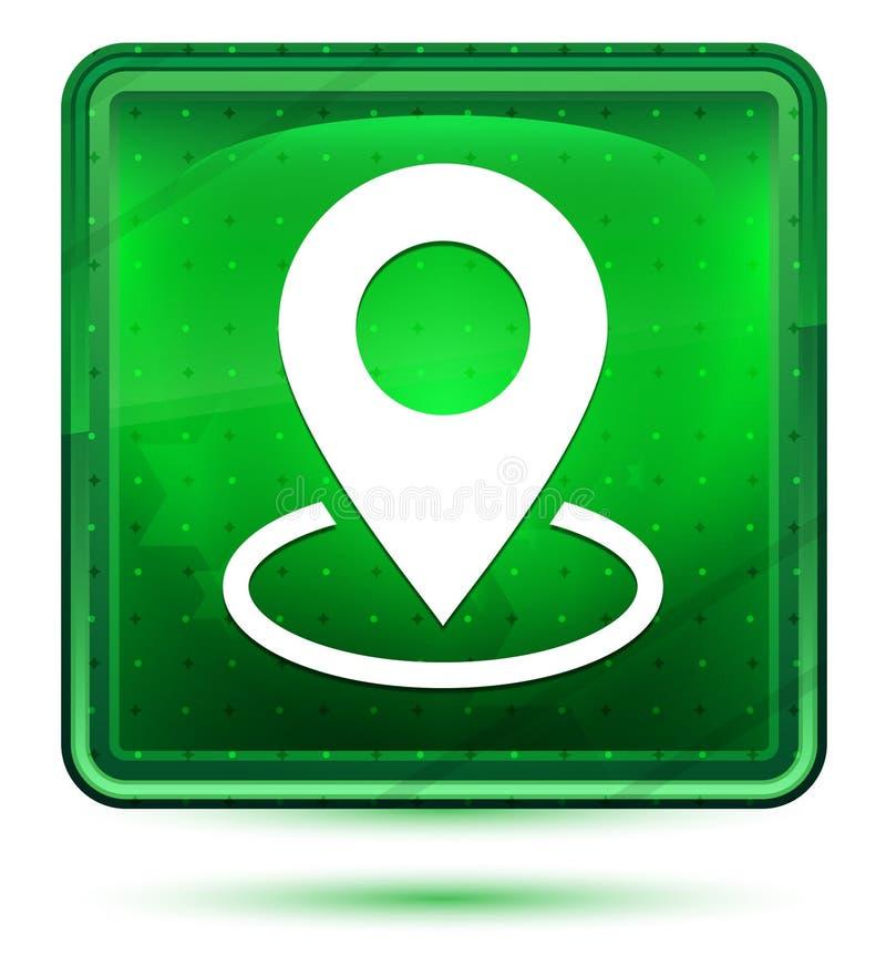 Ljust för neon för översiktspunktsymbol - grön fyrkantig knapp stock illustrationer