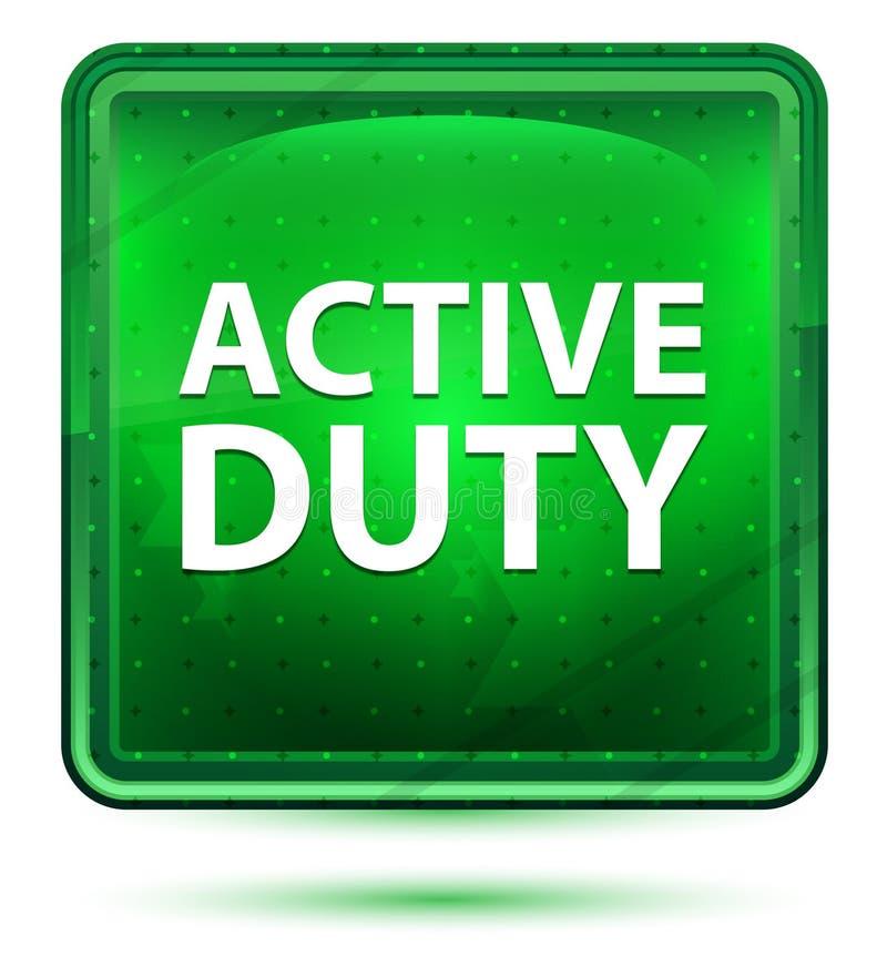 Ljust för neon för aktiv arbetsuppgift - grön fyrkantknapp stock illustrationer