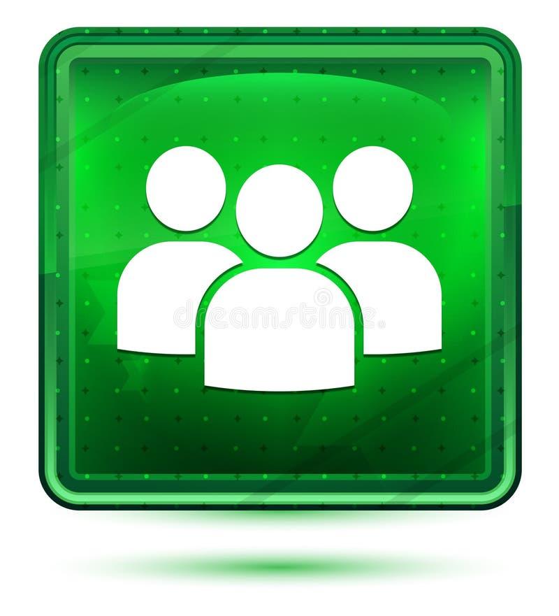Ljust för neon för användargruppsymbol - grön fyrkantig knapp stock illustrationer