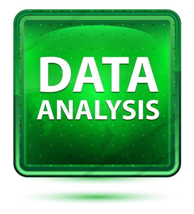 Ljust för neon för dataanalys - grön fyrkantknapp stock illustrationer