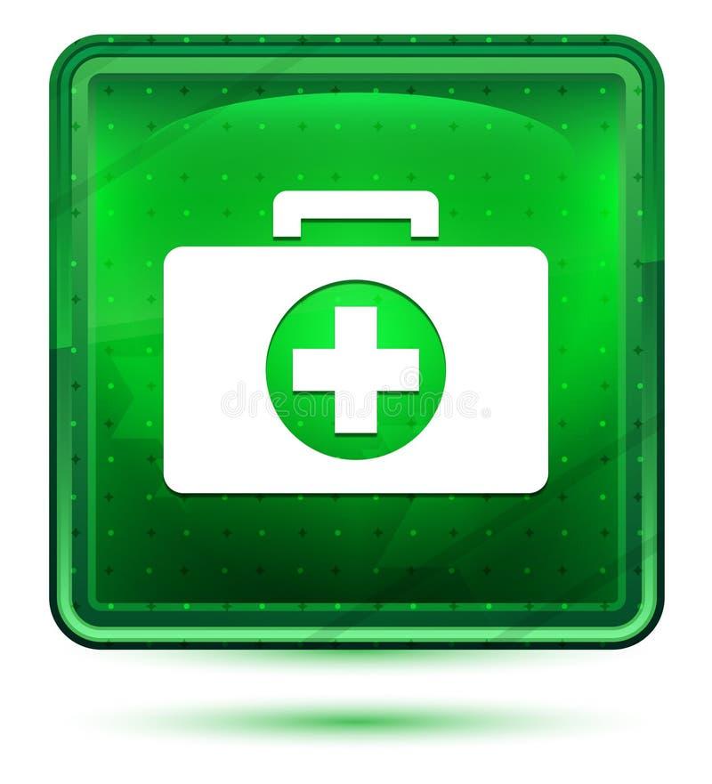 Ljust för neon för första hjälpensatssymbol - grön fyrkantig knapp vektor illustrationer