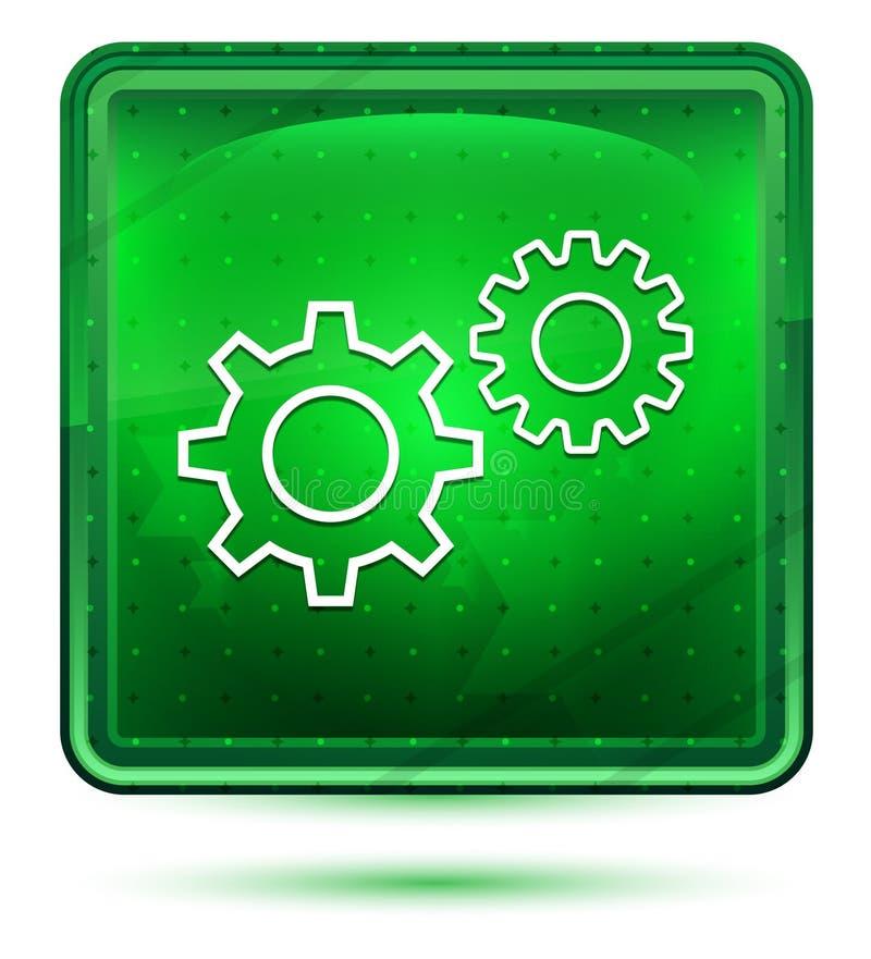 Ljust för neon för inställningsprocesssymbol - grön fyrkantig knapp stock illustrationer