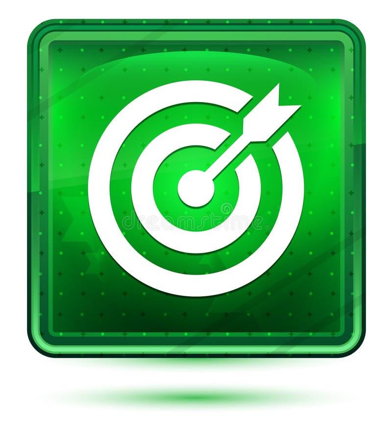 Ljust för neon för målpilsymbol - grön fyrkantig knapp stock illustrationer