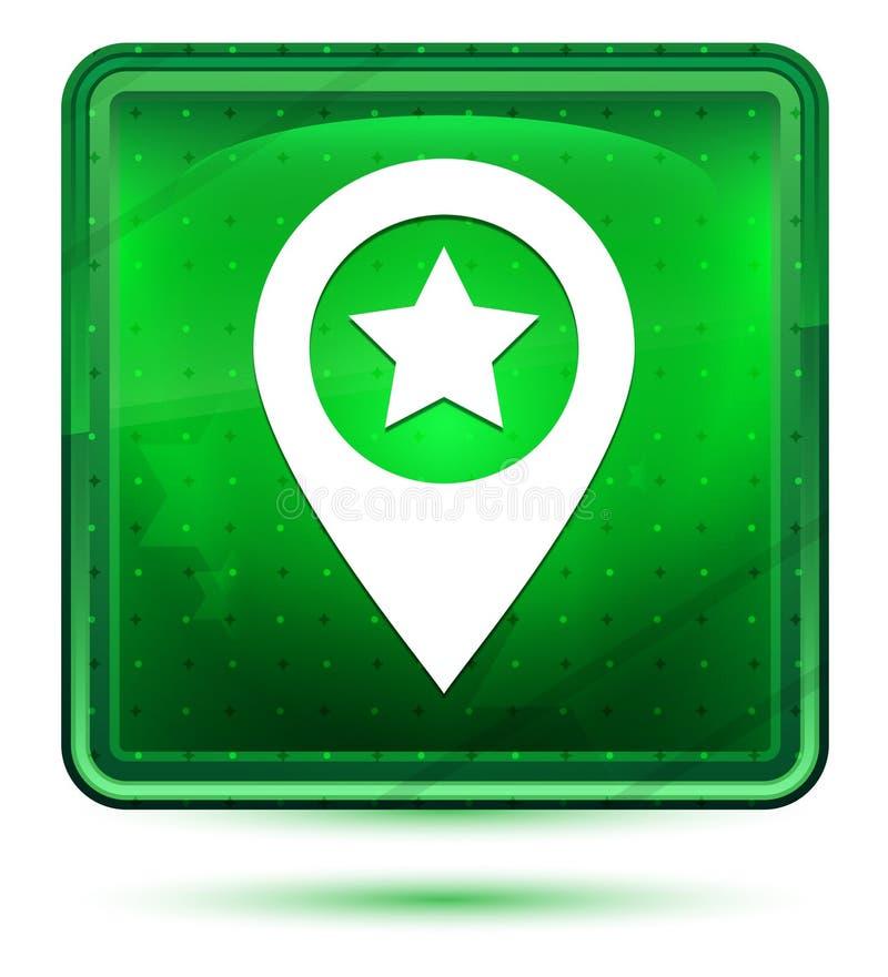Ljust för neon för symbol för översiktspekarestjärna - grön fyrkantig knapp stock illustrationer