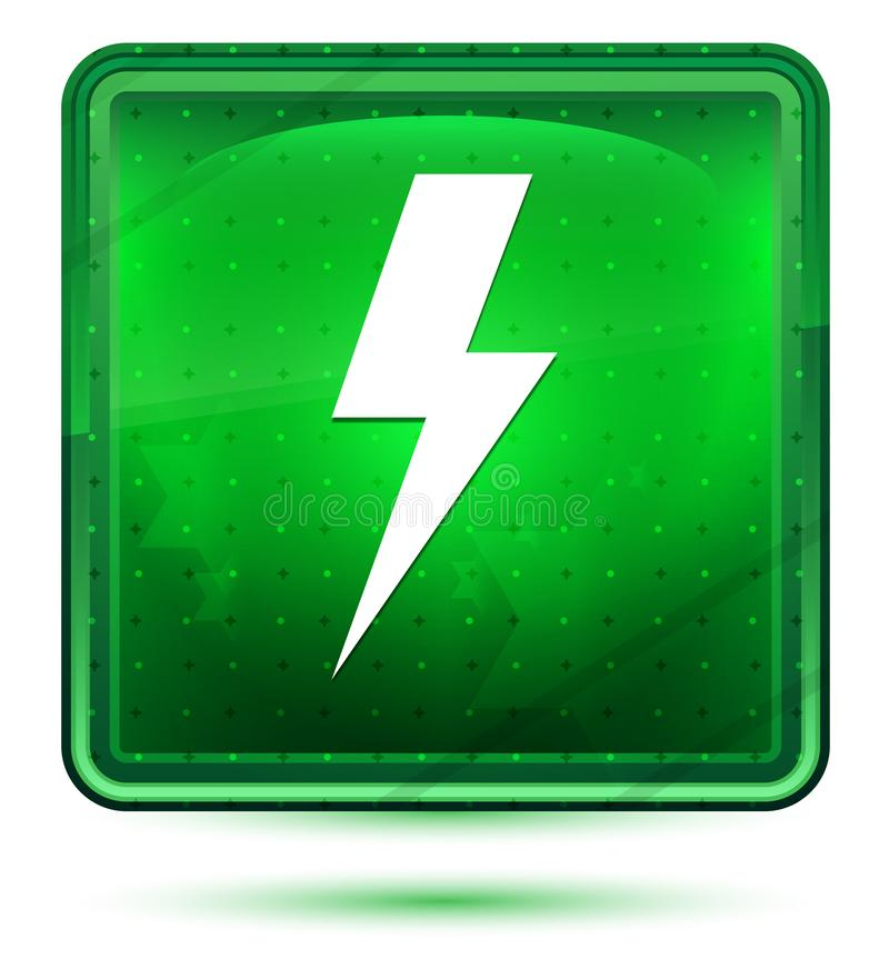 Ljust för neon för symbol för blixtbult - grön fyrkantig knapp royaltyfri illustrationer
