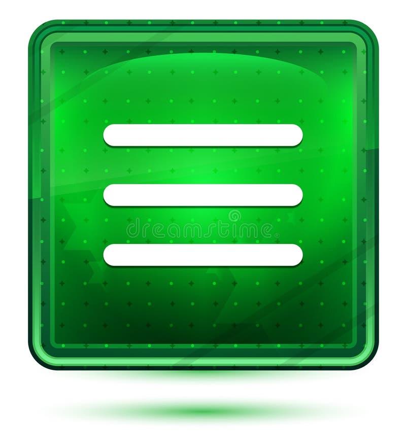 Ljust för neon för symbol för hamburgaremenystång - grön fyrkantig knapp stock illustrationer