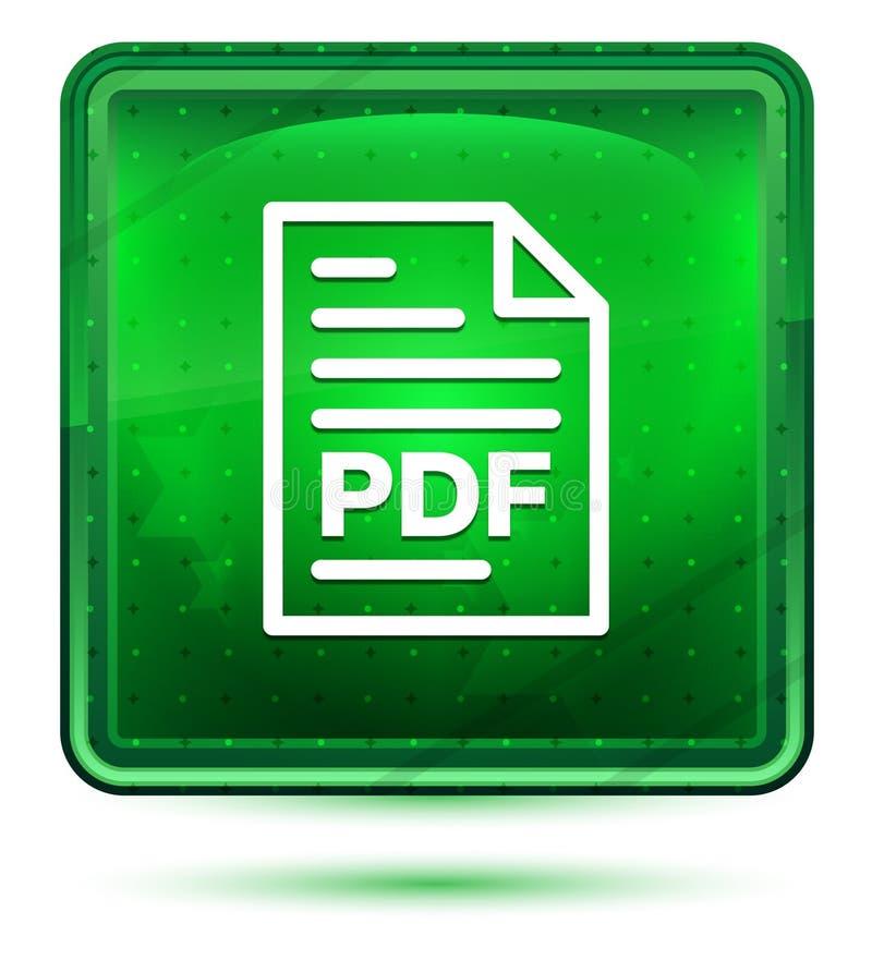 Ljust för neon för symbol för PDF-dokumentsida - grön fyrkantig knapp stock illustrationer