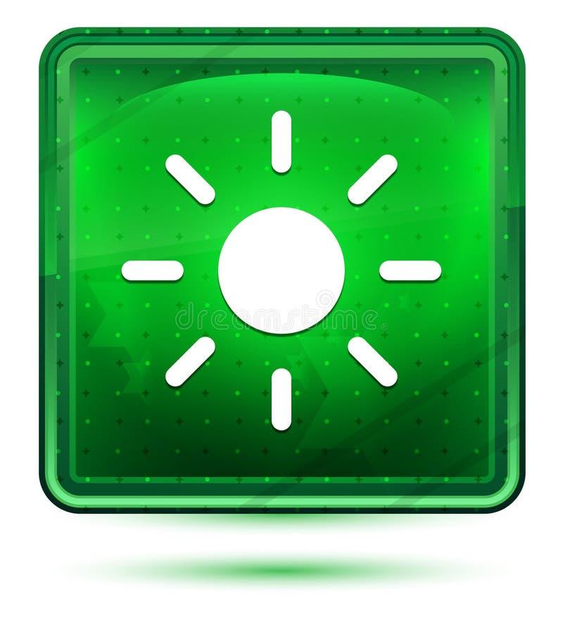 Ljust för neon för symbol för skärmljusstyrkasol - grön fyrkantig knapp royaltyfri illustrationer
