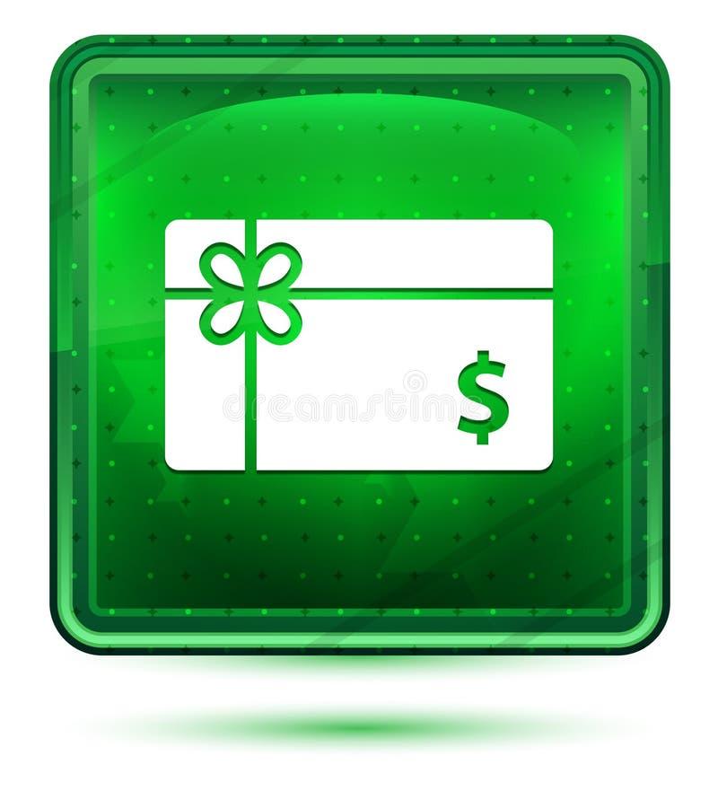 Ljust för neon för symbol för tecken för dollar för gåvakort - grön fyrkantig knapp stock illustrationer