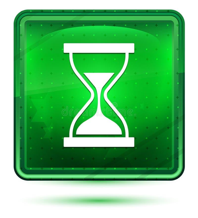 Ljust för neon för symbol för tidmätaresandtimglas - grön fyrkantig knapp royaltyfri illustrationer