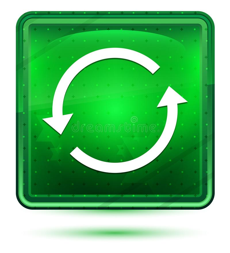 Ljust för neon för uppdateringpilsymbol - grön fyrkantig knapp stock illustrationer