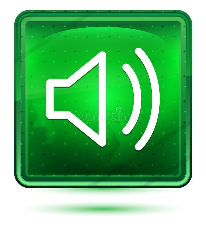 Ljust för neon för volymhögtalaresymbol - grön fyrkantig knapp stock illustrationer