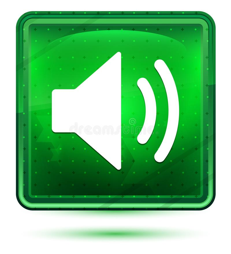 Ljust för neon för volymhögtalaresymbol - grön fyrkantig knapp vektor illustrationer