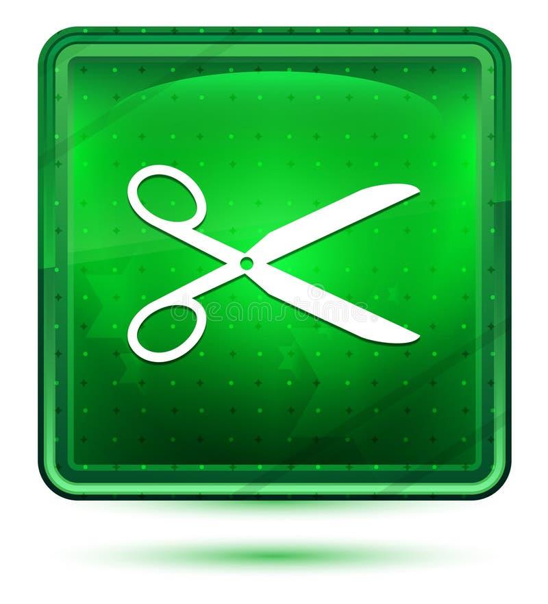 Ljust för saxsymbolsneon - grön fyrkantig knapp royaltyfri illustrationer