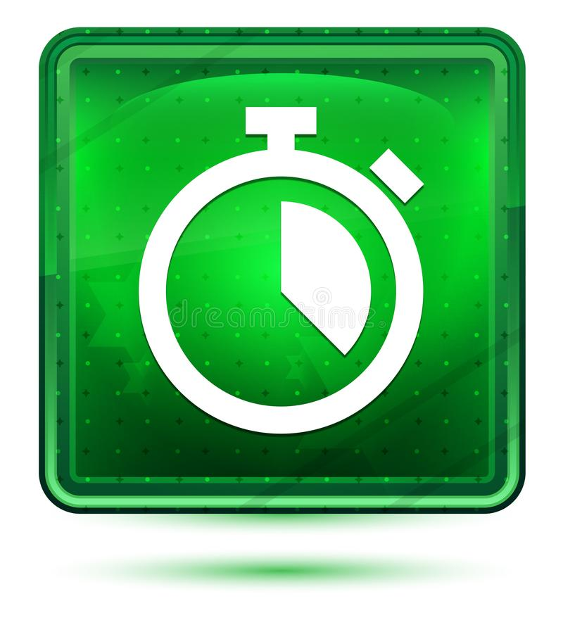 Ljust för stoppursymbolsneon - grön fyrkantig knapp vektor illustrationer