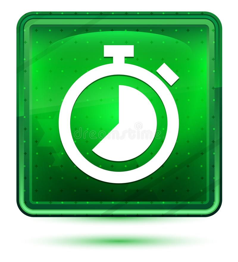 Ljust för stoppursymbolsneon - grön fyrkantig knapp royaltyfri illustrationer
