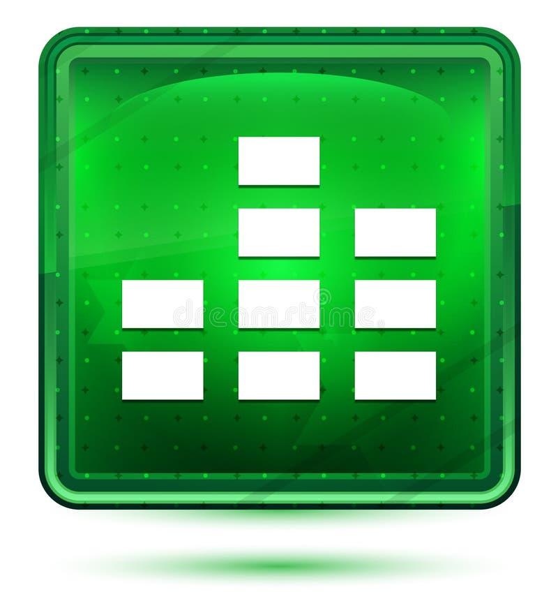 Ljust för utjämnaresymbolsneon - grön fyrkantig knapp vektor illustrationer