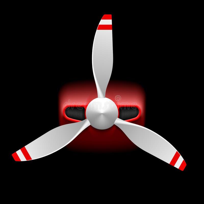 Ljust flygplan med propellern stock illustrationer
