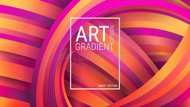 ljust geometriskt f?r bakgrund Abstrakta regnb?ge-formade former Violetta och orange kr?kta linjer Dynamisk effekt royaltyfri illustrationer
