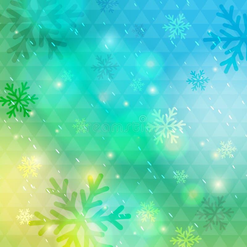 Ljust - grön bakgrund med bokeh och snöflingor, vektor stock illustrationer