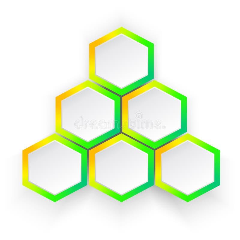 ljust infographic, pyramid med sex polygoner royaltyfri illustrationer