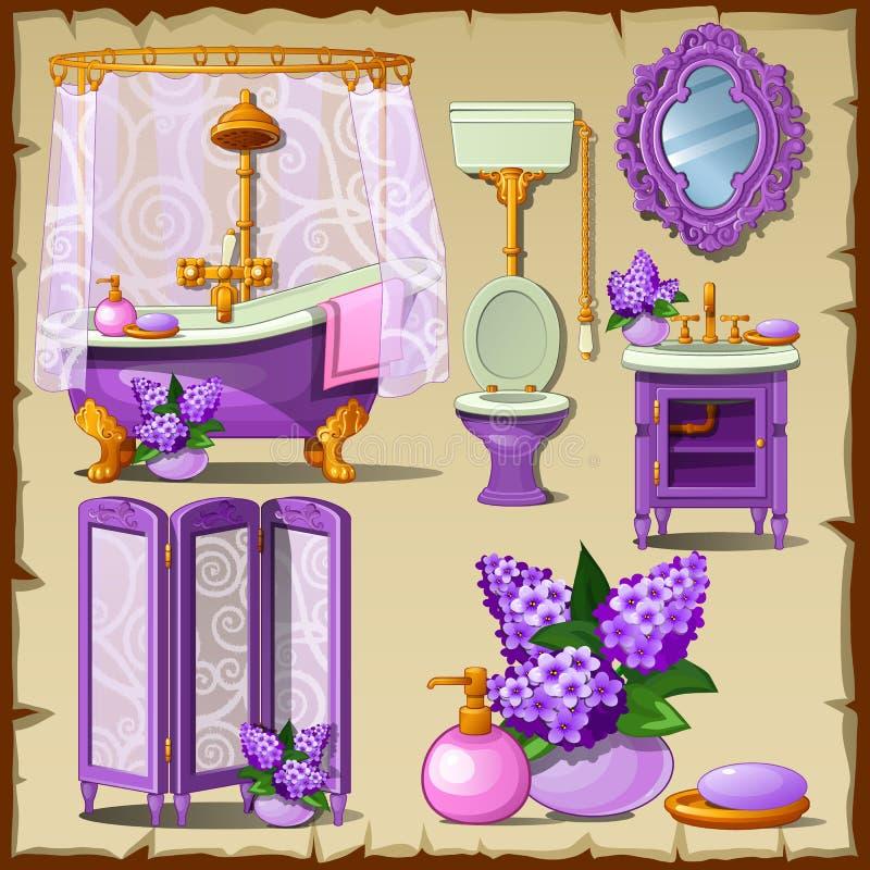 Ljust kort med inre objekt av ett badrum stock illustrationer