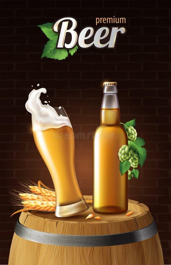 Ljust lageröl i exponeringsglaskopp och glasflaska på trätrumma med vete, förnyande drink med vitt skum i 3d royaltyfri illustrationer