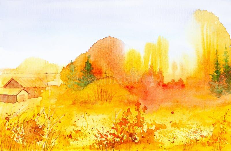 Ljust lantligt landskap i den ryska byn Vattenfärgillustration av den guld- hösten royaltyfri illustrationer
