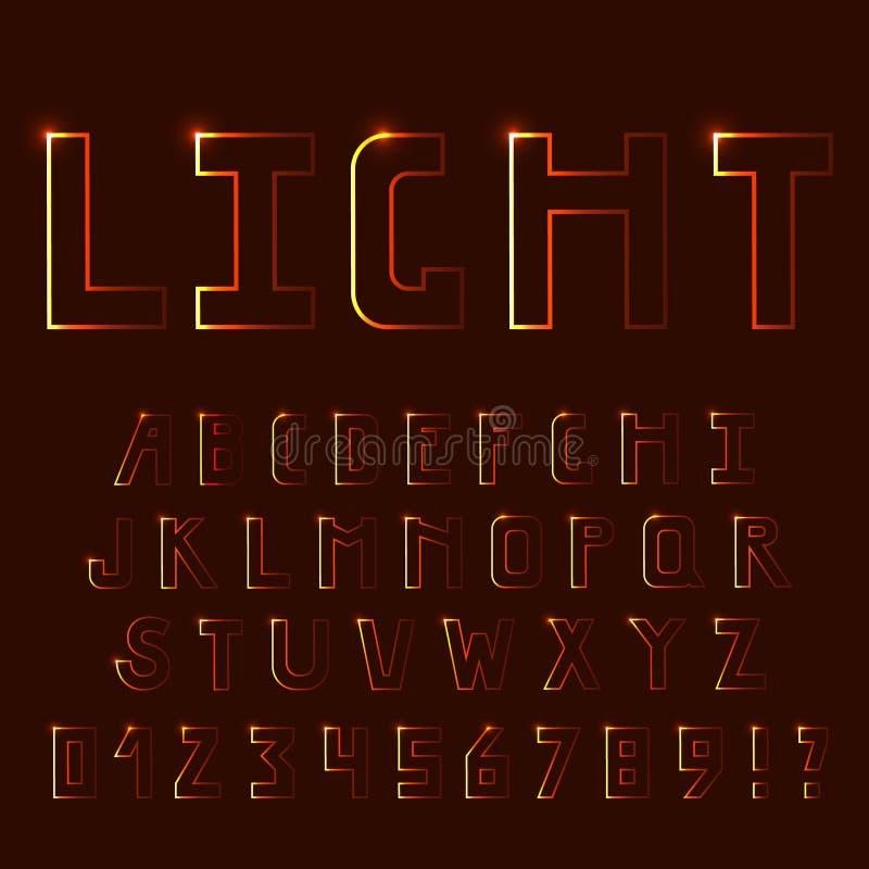 Ljust ljus, neonstilsort Uppercase bokstäver royaltyfri illustrationer