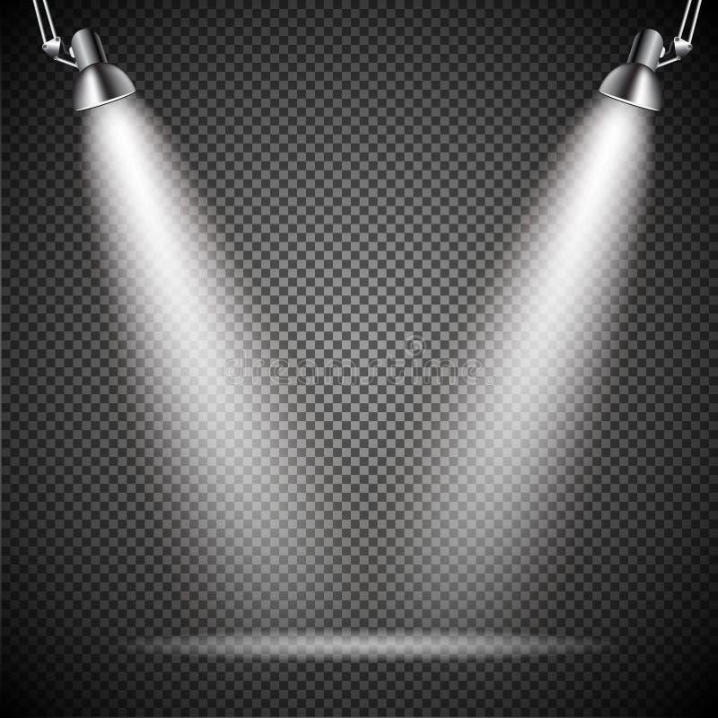 Ljust med belysning riktar uppmärksamheten på lampan vektor illustrationer