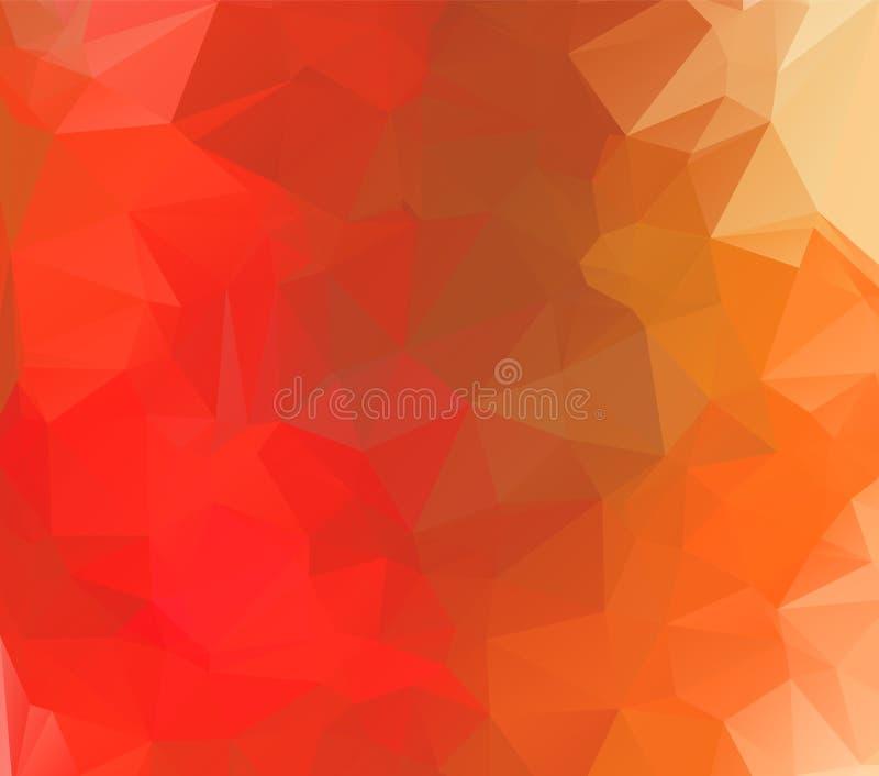 Ljust - modern geometrisk abstrakt bakgrund för orange vektor som är flerfärgad, mall för mosaik för regnbågevektortriangel vektor illustrationer