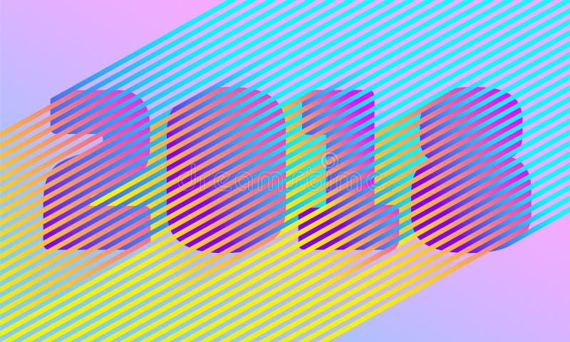 Ljust nummer för nytt år för band 2018 Retro moderiktig stildesign för disko Parallell neonfärglinje Vibrerande skuggaillusion ve vektor illustrationer