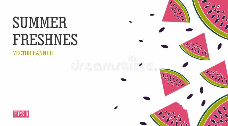 Ljust och saftigt sommarbaner med vattenmelon Strand-themed ferie och en uppfriskande vattenmelon royaltyfri illustrationer