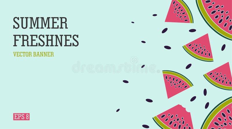 Ljust och saftigt sommarbaner med vattenmelon Strand-themed ferie och en uppfriskande vattenmelon stock illustrationer