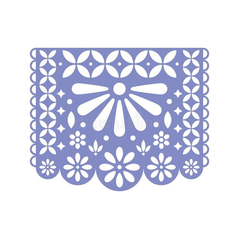 Ljust papper med snittet ut blommar och geometriska former Papel Picado vektormall stock illustrationer