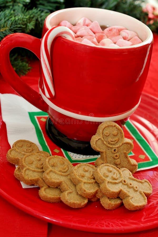 Ljust rödbrun brödkakor och varm choklad arkivbild