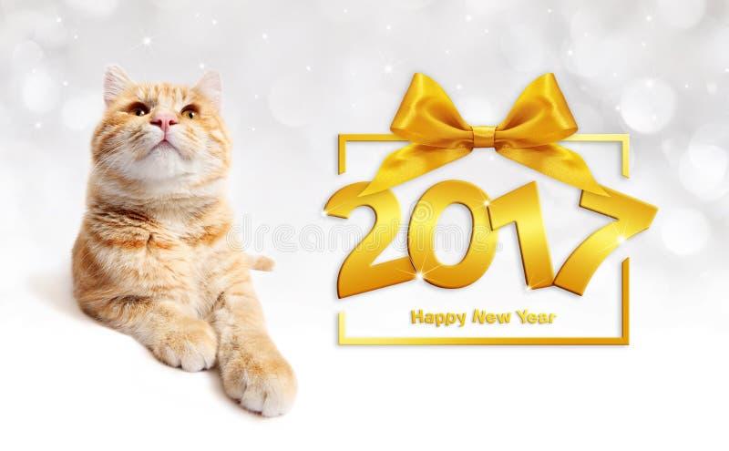 Ljust rödbrun katt och text för lyckligt nytt år 2017 med bandpilbågen vektor illustrationer