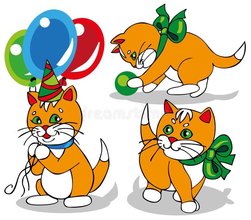 Ljust rödbrun kattunge med en pilbåge stock illustrationer