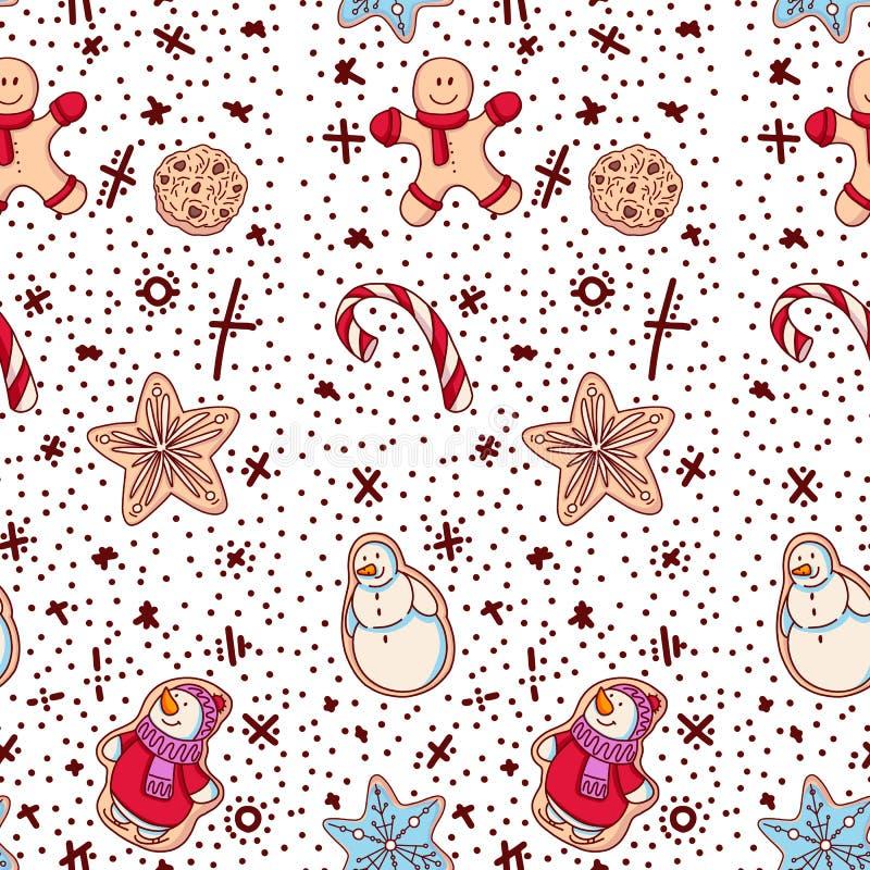 Ljust rödbrun ljusbruna julkakor med dekoren Sömlös modell med det ljust rödbrun kexet stock illustrationer