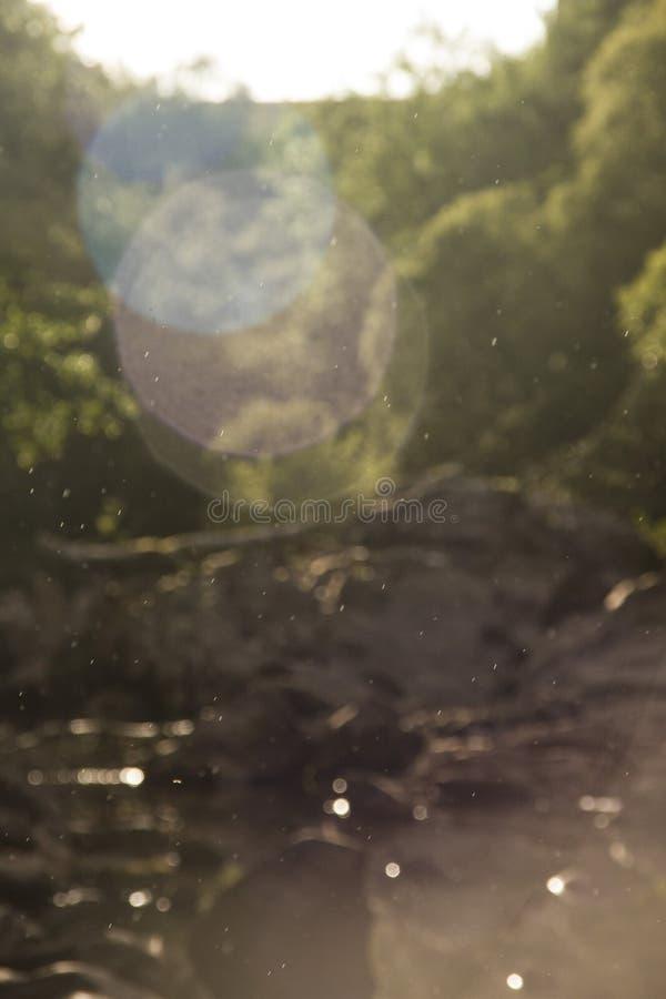 Ljust regn framme av en flod fotografering för bildbyråer