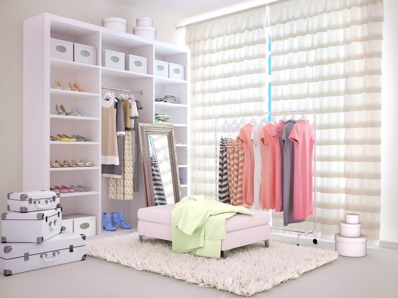 Ljust rum med en garderob och kläder stock illustrationer