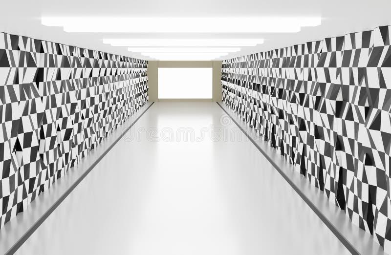 Ljust rum med väggen för bakgrund för trapetsoidform den abstrakta vektor illustrationer