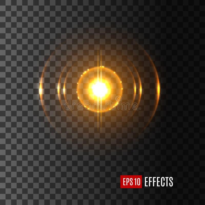 Ljust sken i prålig symbol för vektor för linssignalljuseffekt stock illustrationer