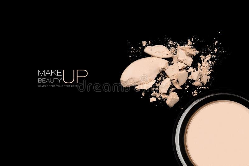 Ljust smula makeuppulver med prövkopiatext royaltyfri fotografi