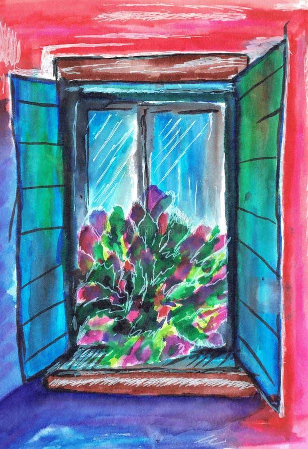 Ljust sommarfönster med stor för е Ð för ¾ för ьшРför ¾ 'Ð Ð' för vad Ð för и Ñ för ¼ för ‹Ð för ² Ñ för  иРför  ÐºÑ€Ð°Ñ royaltyfri illustrationer
